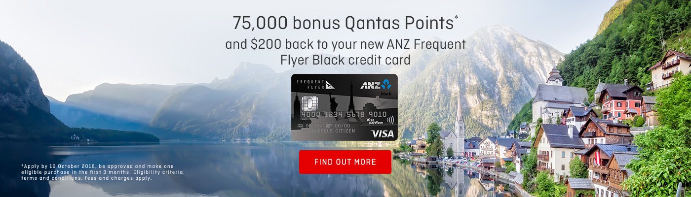 Earn 75,000 bonus Qantas Points and $200 back to your new ANZ Frequent Flyer Black credit card