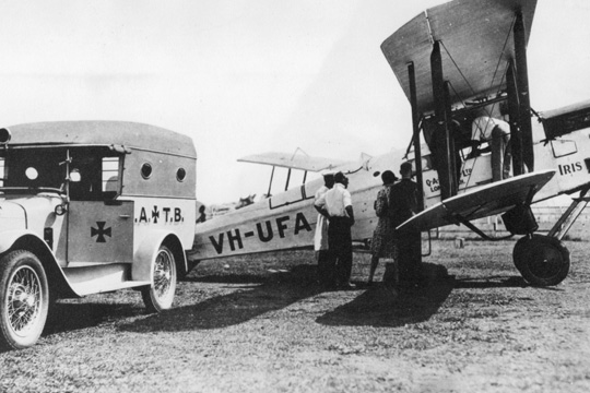 Qantas flies an ambulance patient to Brisbane from Longreach in the 1920s