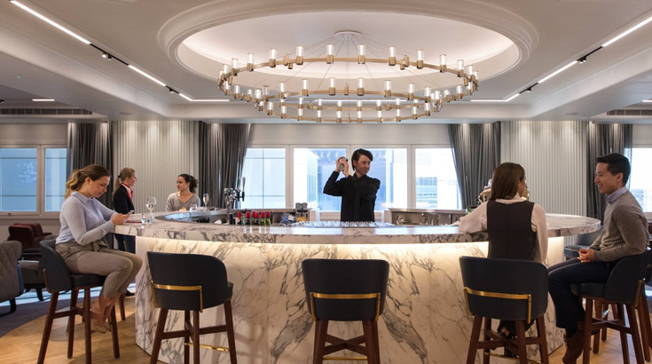 The Qantas London Lounge cocktail bar