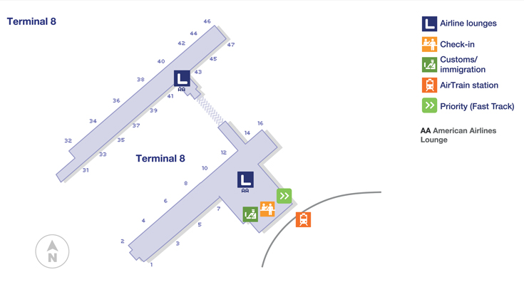 Terminal 8 Jfk Map Lounge Locations | North America | New York JFK International  Terminal 8 Jfk Map