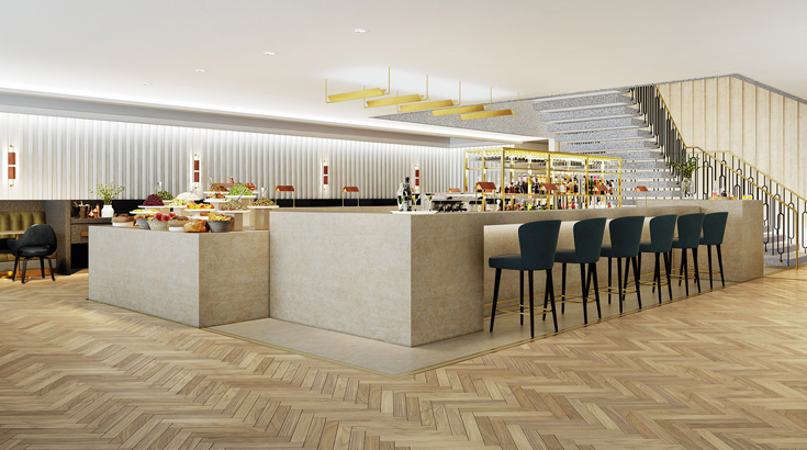 The Qantas London Lounge bar area