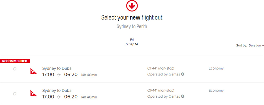 Select New Flight