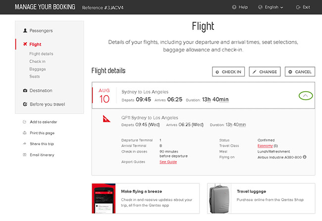 Help - Manage Your Booking | Qantas